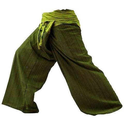 2 Tamaño libre de algodón diseño de rayas COLOR en uno pescador Thai pantalones de Yoga pantalones tamaño taladro tamaño Plus incluye algodón verde oliva diseño de rayas