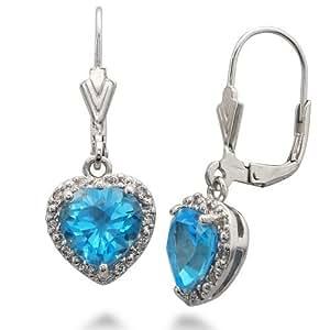 Sterling Silver Swiss Blue Topaz Earrings (3 CT)