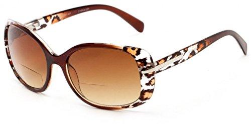 +2.00 Sonnen Lesebrille Braun Leopard Sonnenbrille Bifokal 100% UV-Schutz Getönte Gläser Damen Zeitlos Fall & Stoff