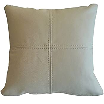 PnH® Real Leather Scatter Cushion 37cm x 37cm - Cream - COMPLETE WITH HOLLOW FIBRE FILLED INNER