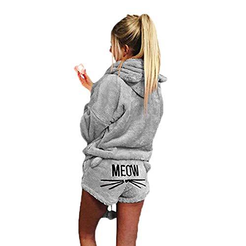Inlefen Frauen Zweiteilige Pyjamas warme Korallen Fleece süße Pyjamas süße Katze Muster Hoodie + Shorts Anzug -