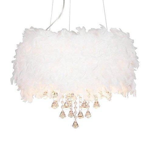 Moderne Pendelleuchten Üppige Weiße Fluffy Feder-Leuchter mit 3 Lichtern Kristalltropfen Badminton Pendelleuchte fürs Wohnzimmer Esszimmer Schlafzimmer 3 x 40 W Maximale E14 Kerzen Glühbirnen