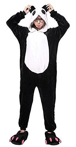 iKneu Panda Onesie Jumpsuits Kostuem Pyjama Oberall Hausanzug Kigurum Schlafanzug L (Panda Kostüm Männer)