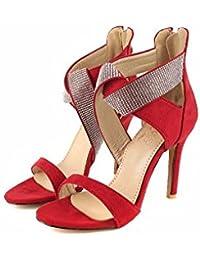 Zapatos de mujer de verano, gamuza y sandalias, tamaño grande, los zapatos de tacón alto, zapatos de mujer,gules,42