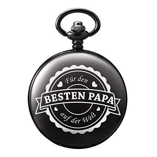 TREEWETO Taschenuhr mit Gravur Kette Herren Schwarz Geschenk zum Geburtstag Vatertag Vater Vatertagsgeschenk