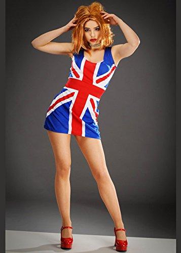 Geri Kostüm Spice - 8in1 Womens Ingwer Spice Union Jack Geri Kleid Large (UK 16-18)