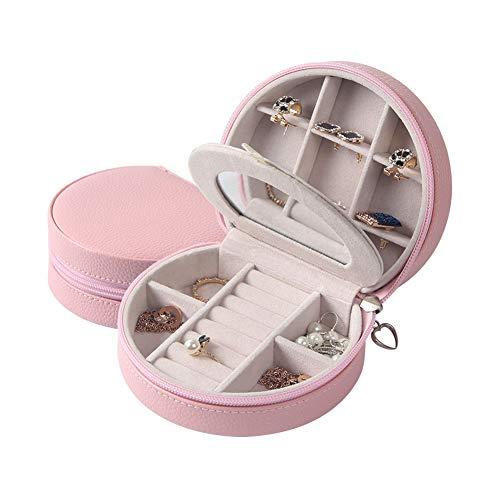J.Mmiyi Schmuckkästchen Schmuckkoffer Einfach Leder und weiches Innenfutter mit Innenspiegel, Reißverschluss Schloss,Pink -