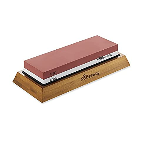 Whetstone, Beeway® Professional Knife Sharpening Stone, Sharpener with Non-slip Bamboo Base, 2 Sided Grit Whetstones 3000/8000 Perfect for Chef, Kitchen, Pocket Knives and