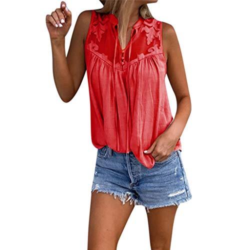 Oksea Ärmelloses Chiffon Oberteile Ärmelloses Hemd aus Chiffon Damen Elegant Ärmellos Chiffon Bluse mit Blumen Spitze Shirt Oberteil Bluse