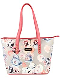 [Sponsored]Aubrey Faux Leather Pink Floral Print Tote Handbag