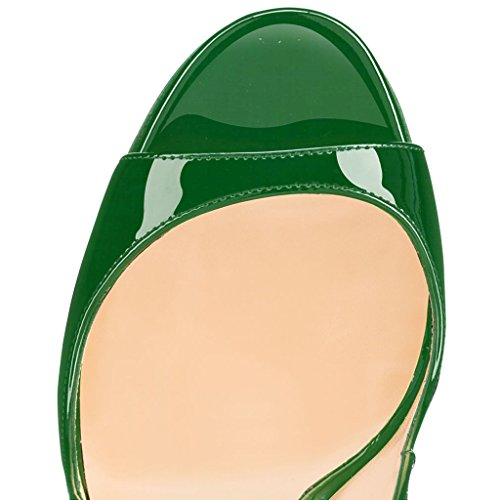 EDEFS Scarpe Peep Toe Donna Slingback Sandali Tacco a Spillo con Cinturino Caviglia Fibbia Verde