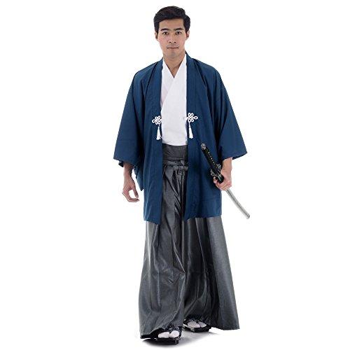 Set 3 Teile Kendo Gi + Hakama + Haori Baumwolle M L XL (Blau & Weiß & Grau) (Sushi Kostüm)