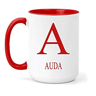 Auda Name & Initial Mug - Gift in Many Colours for Tea or Coffee - Navy