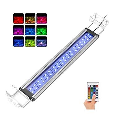 LEDGLE 37-60cm Éclairage Aquarium, 36 LED 8W Lampe Submersible Imperméable avec16 Modes de Couleurs et Télécommande pour Décoration des Poissons, Plantes, Corails