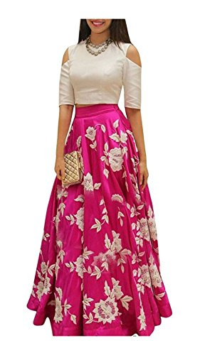 Varibha Women's Silk Lehenga Choli (Aaiolg00004A01-Slf_White & Pink_Free Size)