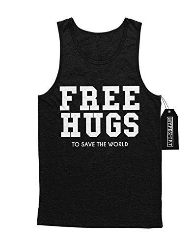 Tank-Top Free Hugs To Save The World Peace Weltfrieden Hipster Patch Dalai Lama H970012 Schwarz (Schwarz Lama Kostüm)