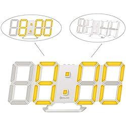 Digoo Horloge Murale Multifonctions Horloge Numérique 3D LED Digital Couleur Réveil à Affichage Horloge de Bureau