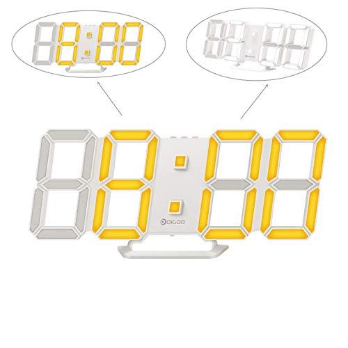 Digoo dc-k4 led orologio da parete digitale 3d con doppia luce colore-arancio e bianco, sveglia con funzione snooze