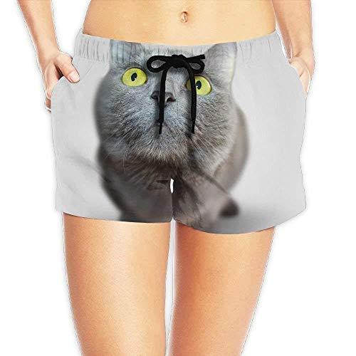 6fb29d87f0d4 ERCGY Women's Elastic Waist Casual Beach Shorts Drawstring Cat Big Eyes  Shorts Swim Trunks,S