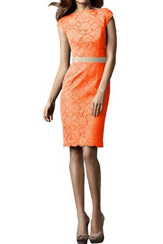 Ivydressing Damen Hochwertig Rundkragen Spitzenklaider Kurz Abendkleider Festkleid Partykleid Orange