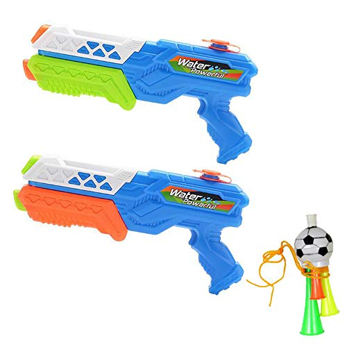 Kungfu Mall 2 Stücke Wasserpistolen Beach Party Freibad Wasser Spaß Sommer Spielzeug Super Blaster wasserpistolen + 1 STÜCK Fußball Horn