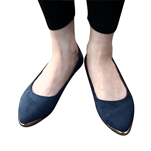Smilun Damen Ballerina Flach Klassische Ballett Glänzende Metall Spitze Dunkel Blau