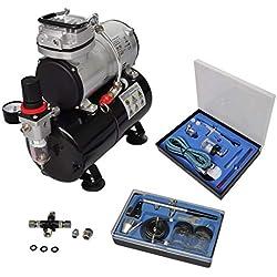 yorten Kit de Compresseur d'aérographe Compresseur d'air avec 2 Pistolets Mini Compresseur à Piston