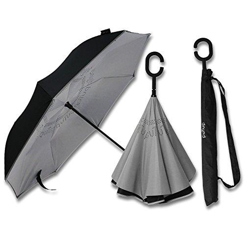 PUTUP - Der umgekehrte Regenschirm - Das Original - Innovativer Schirm, der nach Innen schließt - Der verkehrte Regenschirm ist besonders stabil und sturmfest > Reverse Umbrella (schwarz-grau)