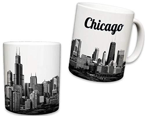 Sweet Gisele Kaffeetasse aus Keramik, inspiriert von Chicago, Souvenir, Windy City Skyline View, Iconic Sears Tower - Weiße Reisebecher, lebendige Farben - tolles Geschenk, 325 ml Oz -