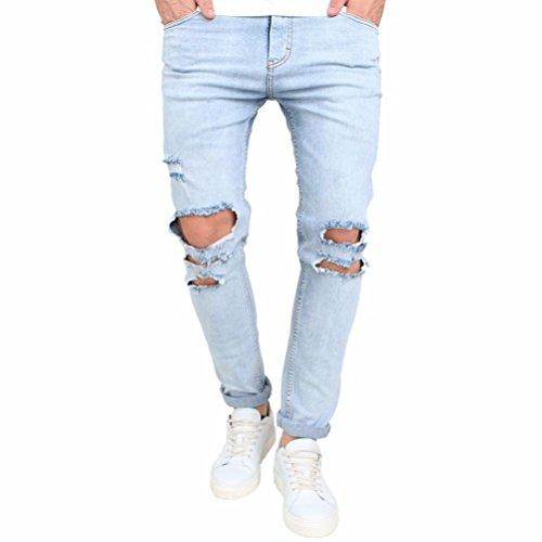 ❤️Pantalons Homme, Amlaiworld Homme Extensible Jean Skinny Jeans Trou Pantalon en Denim Slim Fit Leggings (36, Bleu)