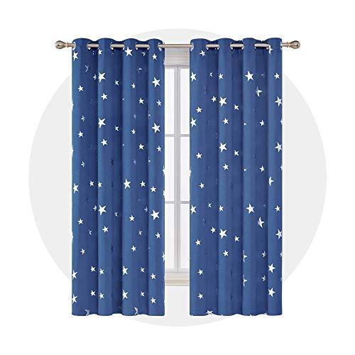 Deconovo Cortinas Dormitorio Moderno Suave Cortina Opaca para Ventanas de Habitación Juvenil...