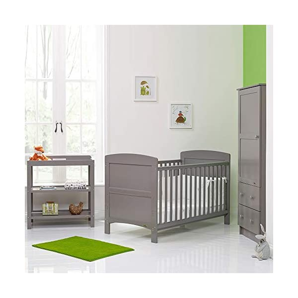 OBaby Grace 3 Piece Room Set (Warm Grey) Obaby Room set includes Grace cot bed, open changing unit and single wardrobe Cot bed features an adjustable 3 position base and protective teething rails Converts into a stylish toddler bed 7