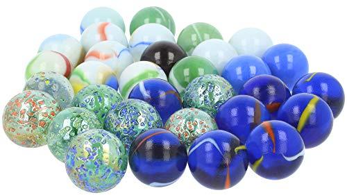 es Glasmurmelset, Glas-Murmeln zum Spielen und Sammeln (32-teilig - Murmeln) ()