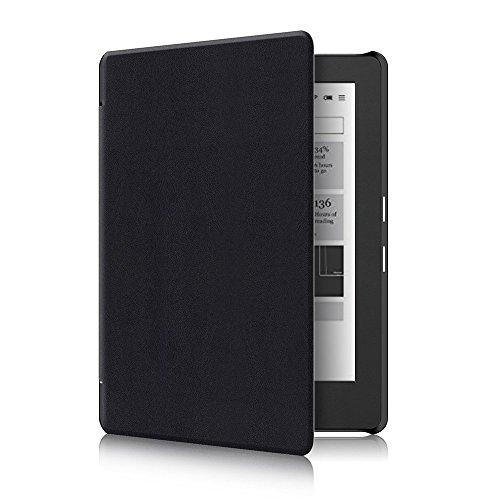 Kobo Aura H2O Edition 2 Hülle - Ultra Dünn und Leicht PU Leder Schutzhülle Tasche mit Auto Aufwachen / Schlaf Funktion für Kobo Aura H2O 2nd Edition 6,8 Zoll eBook 2017 Modell, Schwarz
