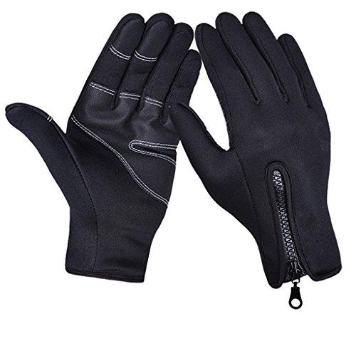 iCreat Touchscreen Handschuhe Damen / Herren Warme Fahrradhandschuhe Winddicht Wasserdicht Herbst Winter Schwarz, Größe XL