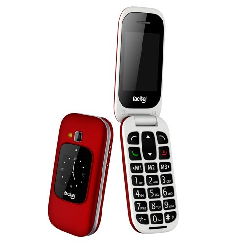 Facitel FS16 - Teléfono móvil fácil Uso, Color Rojo