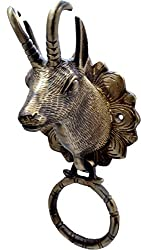 Two Moustaches Brass Deer Head Door Knocker