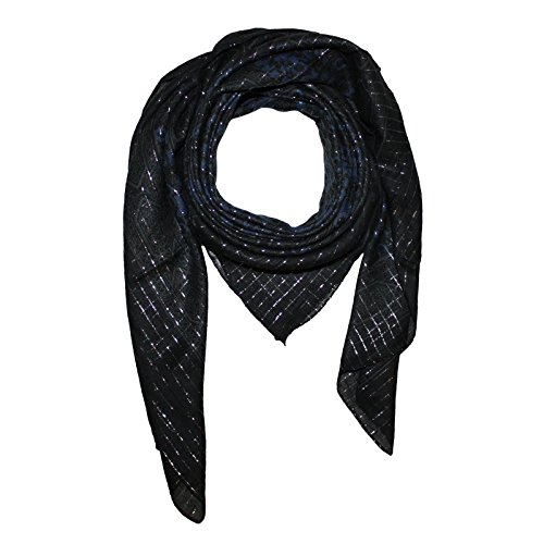 96a09ed55b42d5 Superfreak® Baumwolltuch Indisches Muster 1 Silber Lurex - Tuch - Schal - 100x100  cm -