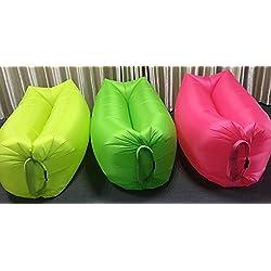 Inflable de playa Lounger Air Sleeping Bag Sofá al aire libre Conveniente inflable Lounger portátil compresión de aire comprimido bolsas de aire al aire libre camas de aire, silla portátil, colchones de aire Beds.Ideal para descansar (Black)