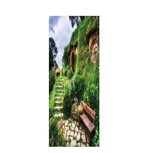 Preisvergleich Produktbild ZYCZ 3D Stereo Türaufkleber Haus Dekoration Klebrige Wand Aufkleber Wasserdichte Tapete-Hobbit Cottage