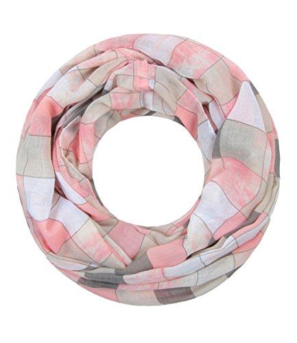 Majea NEU Damen Loop Schal viele Farben tolle Muster Schlauchschal Halstücher XXL (rosa 9)