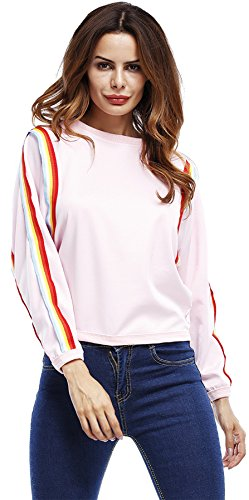 Langarm Colorful Regenbogen Gestreiftes Gestreift Batwing Dolman Sleeve Sweatshirt Blouse Bluse Shirt Hemd T-Shirt Tee Oberteil Top Rosa (Dolman Lange)