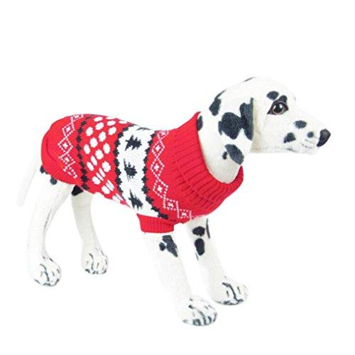 erthome Pet Rollkragen Pullover Hund Kleidung Dalmatiner kleinen Baum Hunde Winter Pullover (L, Rot)