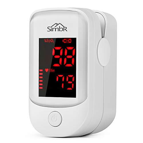 SIMBR Saturimetro Pulsossimetro Digitale,Oximeter Portatile Professionale con Display LED per Frequenza Del Polso(PR) e La Saturazione di Ossigeno (SpO2) con Custodia e Cordino, Batterie AAA Incluse