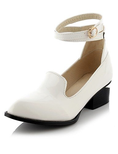 WSS 2016 Chaussures Femme-Bureau & Travail / Décontracté-Noir / Blanc-Talon Bas-Confort / Bout Pointu-Chaussures à Talons-Cuir Verni black-us7.5 / eu38 / uk5.5 / cn38