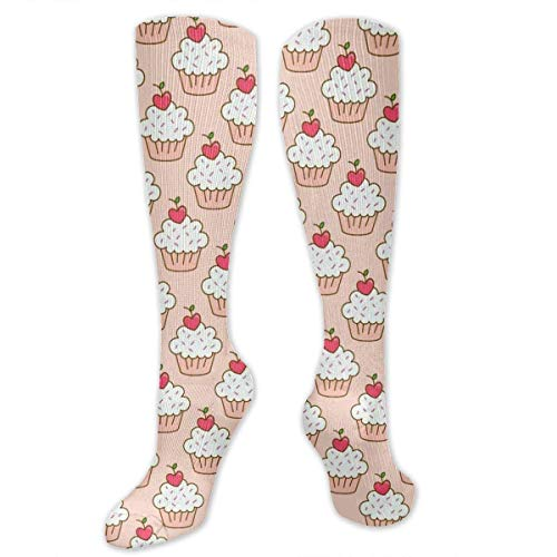 DGHKH Cherry Cupcakes Unisex Knee High Sports Athletic Socks Polyester Tube Long Stockings