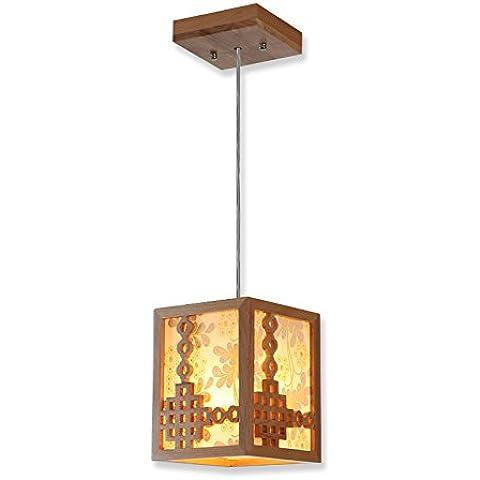 MSUXT lampade a sospensione Soggiorno Camera da letto di luce in legno massello arti lanterne di carta pergamena Ristorante