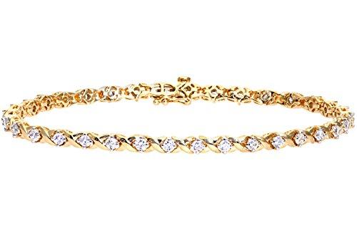 Naava Women's Diamond Bracelet, 9 ct Yellow Gold, Prong Setting 2 ct Diamond Weight