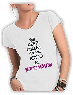 Social Crazy T-Shirt Donna Cotone Fiammato Scollo Ampio a Taglio Vivo - Keep Calm È Il Mio Addio al Nubilato Divertente...