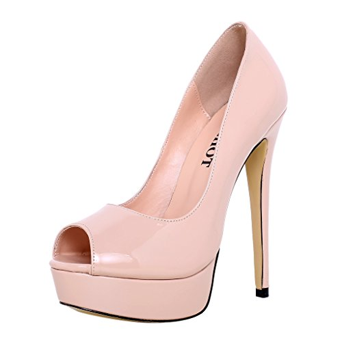 ELEHOT Donna Elequestion tacco a spillo 15CM Synthetic Sandali, beige,